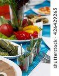 delicious festive dishes with...   Shutterstock . vector #426429265