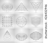 set of wireframe polygonal... | Shutterstock .eps vector #426432946