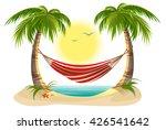 beach vacation. hammock between ... | Shutterstock . vector #426541642