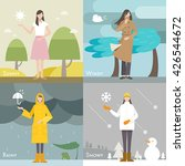 Four Weather Caster Vector...