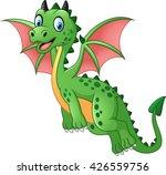 Cartoon Funny Green Dragon...