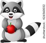 raccoon cartoon holding apple | Shutterstock .eps vector #426560032