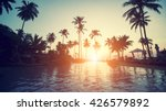 amazing sunset on a tropical... | Shutterstock . vector #426579892