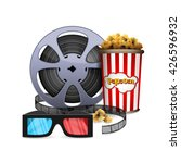 vector 3d glasses with popcorn... | Shutterstock .eps vector #426596932