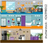 vector set of house interior... | Shutterstock .eps vector #426598012