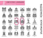 landmark   thin line and pixel... | Shutterstock .eps vector #426620596