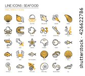 Seafood    Thin Line And Pixel...