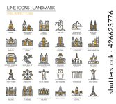 Landmark   Thin Line Icons Set...