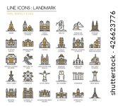 landmark    thin line and pixel ... | Shutterstock .eps vector #426623776