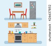 kitchen with furniture set.... | Shutterstock .eps vector #426637852