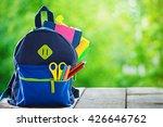 full school backpack on wooden... | Shutterstock . vector #426646762