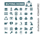 buying home icons  | Shutterstock .eps vector #426669382