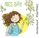 nice day. cute girl walking ... | Shutterstock .eps vector #426670462