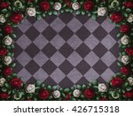 Stock photo alice in wonderland red roses and white roses on chess background wonderland background rose 426715318