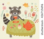 cute raccoon on a picnic | Shutterstock .eps vector #426715696