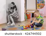 autistic girl. the child sits... | Shutterstock . vector #426744502