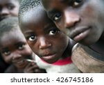 Small photo of KISORO, UGANDA/EAST AFRICA - January 28th 2009 - Children displaced by the conflict in D R Congo and living with their families in makeshift shelters on the outskirts of Kisoro, Uganda, East Africa.
