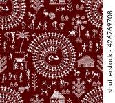 Warli Painting Seamless Pattern ...