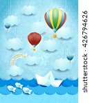 summer seascape with hot air...   Shutterstock .eps vector #426794626