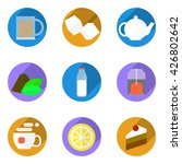 collection of nine flat icons...