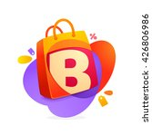 b letter with shopping bag icon ...
