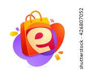 e letter with shopping bag icon ... | Shutterstock .eps vector #426807052