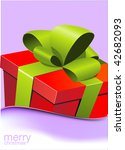 christmas gift box with green... | Shutterstock .eps vector #42682093