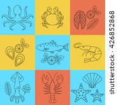seafood vector flat line icons... | Shutterstock .eps vector #426852868