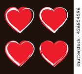 Set Of Heart Icons. Red Hearts...