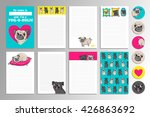 set with cute pugs. printable... | Shutterstock .eps vector #426863692