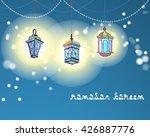 three arabic lanterns or fanous ...   Shutterstock .eps vector #426887776