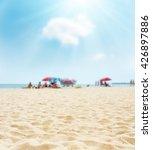 Sand On Beach Closeup And Sun...