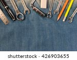 wrench tools on a denim workers ... | Shutterstock . vector #426903655