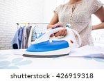 closeup of woman ironing... | Shutterstock . vector #426919318