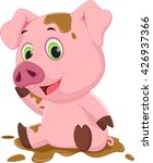 cartoon pig play in mud  | Shutterstock .eps vector #426937366