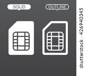 sim card line icon  outline and ...