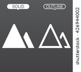 mountains line icon  outline...