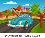 Summer Travel Vintage Car With...