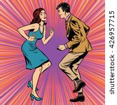 retro man and woman dancing pop ... | Shutterstock .eps vector #426957715