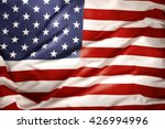 closeup of ruffled american flag | Shutterstock . vector #426994996