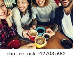 camping coffee friendship... | Shutterstock . vector #427035682
