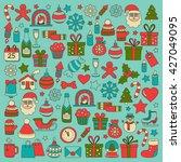 doodle vector icons merry... | Shutterstock .eps vector #427049095