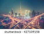 Dubai Skyline At Night With...