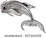 zentangle dolphin. sea fish... | Shutterstock .eps vector #427161535