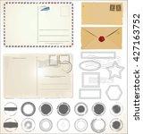 set of post stamp symbols... | Shutterstock .eps vector #427163752