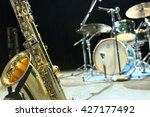 a saxophone and a drum set in a ... | Shutterstock . vector #427177492
