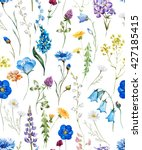Stock photo watercolor floral pattern on a white background wild flowers cornflower dandelion chamomile 427185415