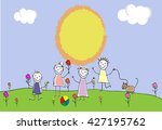 children group of kids. playing ... | Shutterstock .eps vector #427195762