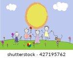 children group of kids. playing ...   Shutterstock .eps vector #427195762