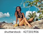 fashion outdoor photo of sexy... | Shutterstock . vector #427201906